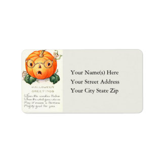 Jack O Lantern With Glasses Vintage Address Label