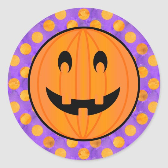 Jack o Lantern with Halloween Polka-dots Stickers