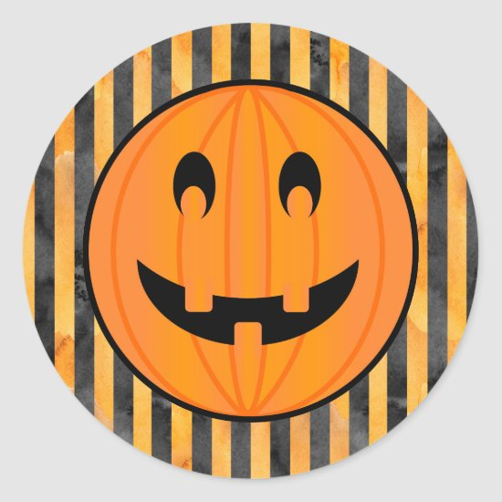 Jack o Lantern with Halloween Stripes Stickers