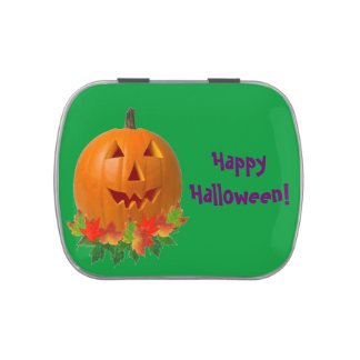 Jack O Lantern with Leaves Candy Tin