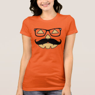 Jack-O-Lantern With Mustache & Glasses T-shirt