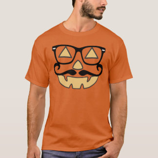 Jack-O-Lantern With Mustache & Glasses T-shirt (b)