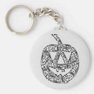 Jack-O-Lantern with Skeletons Basic Round Button Keychain