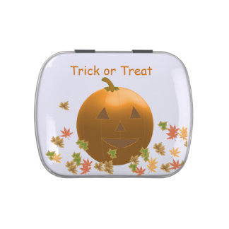 Jack-O-Lantern with Swirling Leaves Jelly Belly Candy Tins