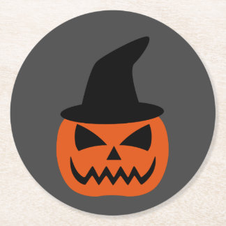 Jack-O-Lantern with witch hat Round Paper Coaster