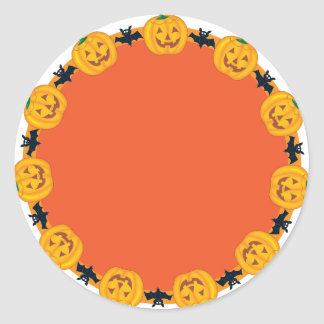 Jack O Lantern Wreath Classic Round Sticker