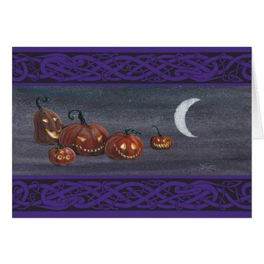 Jack-o-lanterns at Halloween. Card
