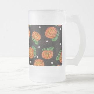 Jack O' Lanterns Frosted Glass Beer Mug