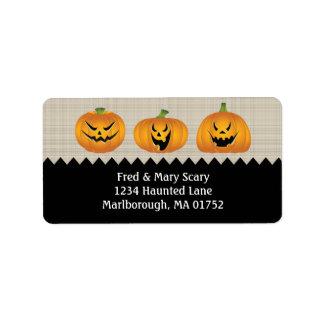 Jack-o-lanterns Halloween Return Address Label