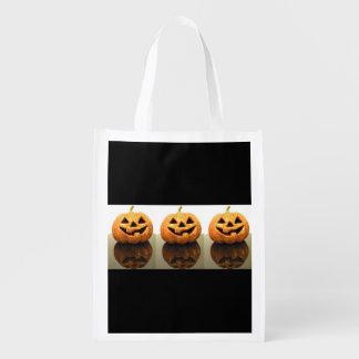 Jack-o'-lanterns Reusable Grocery Bags