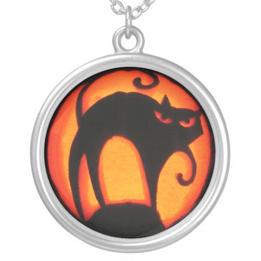 Jack-O-Linterna asustadiza del gato de Halloween Pendiente
