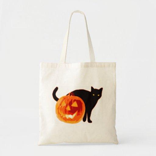Jack-O-Linterna de Halloween y gato negro Bolsa Tela Barata