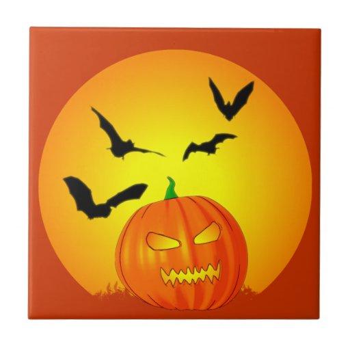 Jack-O-Linterna de la luna de Halloween Azulejos Ceramicos