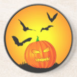 Jack-O-Linterna de la luna de Halloween Posavasos Cerveza