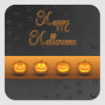 Jack-o-Linterna de las calabazas de Halloween - pe Pegatina Cuadradas Personalizadas