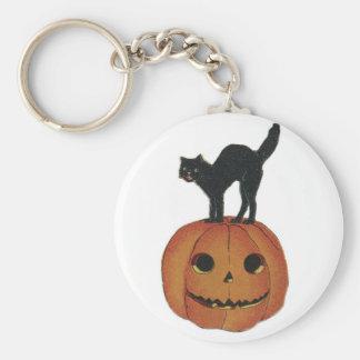 Jack-O-Linterna pasada de moda de Halloween y gato Llavero Redondo Tipo Pin