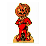Jack-o-linterna retra de Halloween del kitsch del  Postal