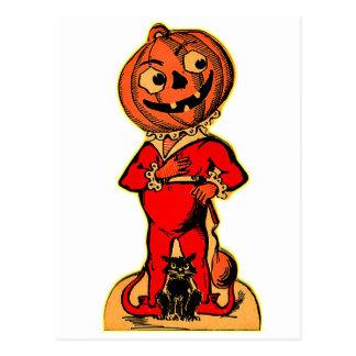 Jack-o-linterna retra de Halloween del kitsch del Tarjeta Postal