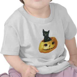 Jack-o-Linterna y gato de Halloween Camisetas