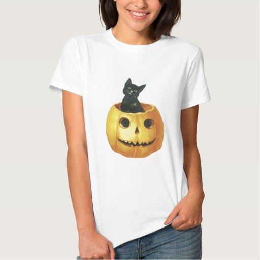 Jack-o-Linterna y gato de Halloween Remera