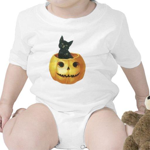 Jack-o-Linterna y gato de Halloween Trajes De Bebé