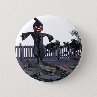 Jack O Scarecrow in a Pumpkin Patch Pinback Button