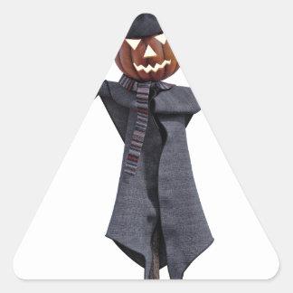 Jack O Scarecrow with Bright Eyes Triangle Sticker