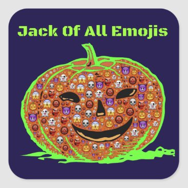 Halloween Themed Jack Of All Emojis(1) Green Square Sticker