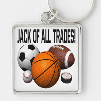 Jack Of All Trades Silver-Colored Square Keychain