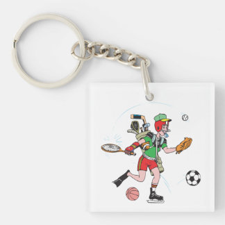 Jack Of All Trades Single-Sided Square Acrylic Keychain