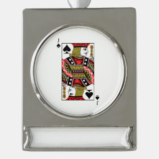 Jack of Spades Silver Plated Banner Ornament