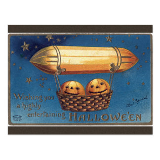 Jack O'Lantern Air Balloon Halloween Postcard