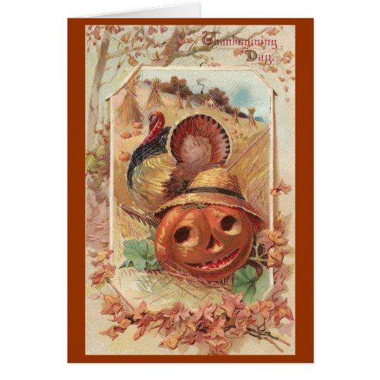 Jack O'Lantern and Turkey Vintage Thanksgiving Card