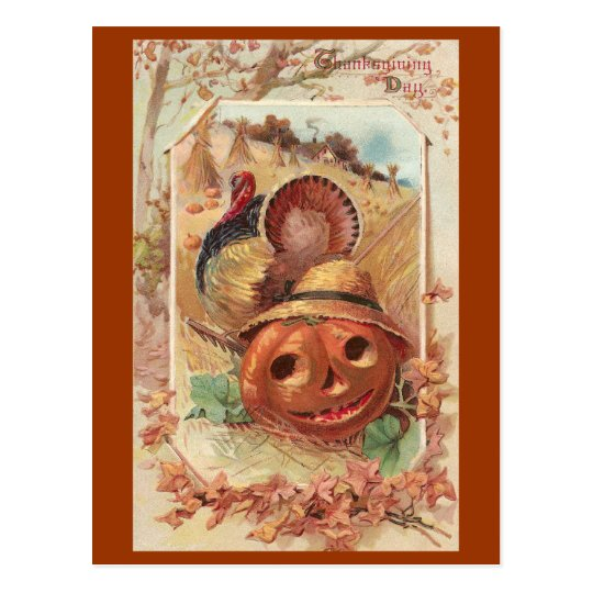 Jack O'Lantern and Turkey Vintage Thanksgiving Postcard