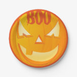 Jack O'Lantern Boo Halloween Party Paper Plate