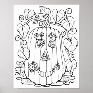 Jack O'Lantern Cardstock Adult Coloring Page Poster