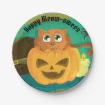 Jack O'Lantern & Cat Happy Halloween Paper Plate