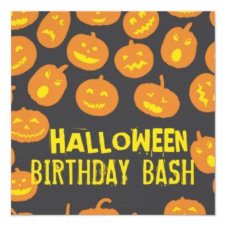 Jack O'Lantern Halloween Birthday Party Card