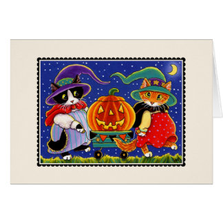 Jack O'Lantern Halloween Cat Card Card