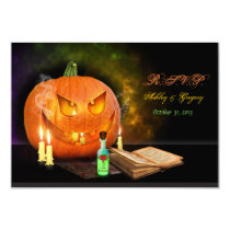 Jack O'Lantern Halloween Wedding Reply Card