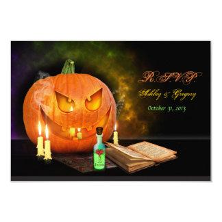 Jack O'Lantern Halloween Wedding Reply Card