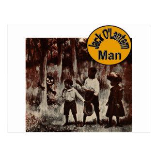 Jack O'Lantern Man! Scary Spooky Halloween Postcard