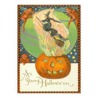 Jack O'Lantern Pumpkin Witch Fire Demon Card