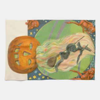 Jack O'Lantern Pumpkin Witch Fire Demon Hand Towels
