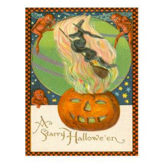 Jack O'Lantern Pumpkin Witch Fire Demon Postcard