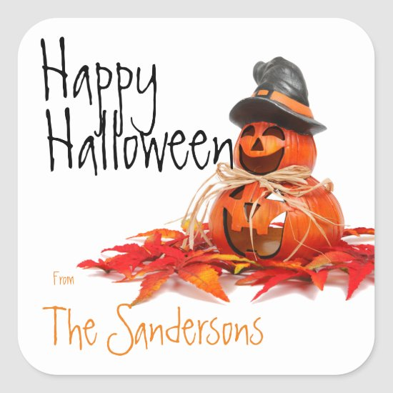 Jack o'lantern, Pumpkin with Witch Hat Stickers