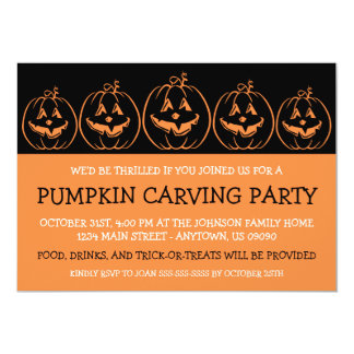 Jack O'Lantern Silhouette Halloween Invitations