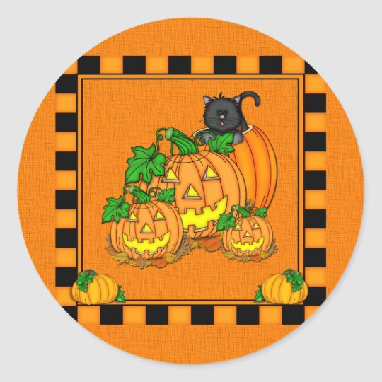 Jack O'Lanterns Halloween Classic Round Sticker