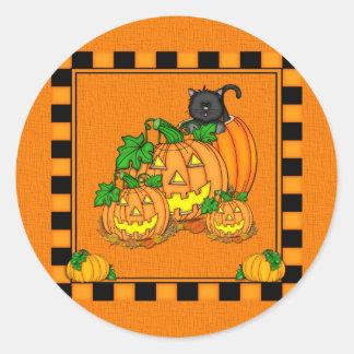 Jack O'Lanterns Halloween Pegatina Redonda