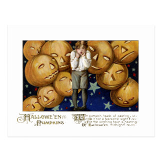 Jack O'Lanterns Peer at Boy Vintage Hallowe'en Postcard
